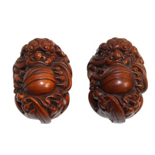 Chinese Pair Wood Carved Mini Foo Dog FengShui Figures For Sale