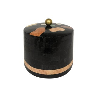 Vintage Maitland Smith Round Tessellated Stone Box For Sale