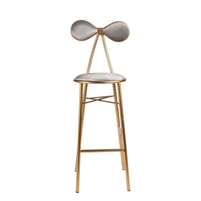 2010s Modern Gold Bow Bar Chair For Sale - Image 5 of 5