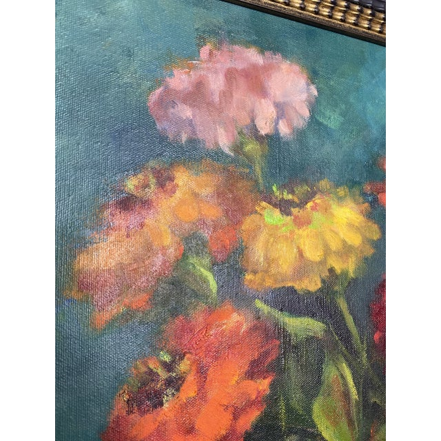 Canvas Late 20th Century Original Still Life of Flowers Oil Painting, Framed For Sale - Image 7 of 13
