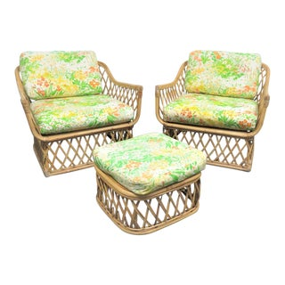 Mid Century Rattan Club Chairs & Ottoman For Sale