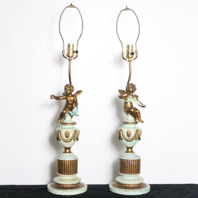 French Style Angel Table Lamps - A Pair - Image 4 of 8
