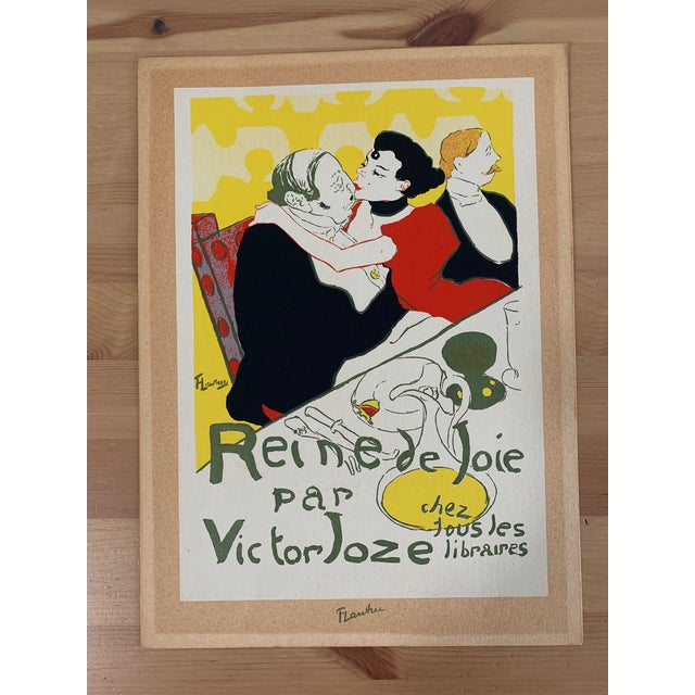 Paper Vintage 1940's Toulouse Lautrec Original Silkscreen Print Reine De Joie 1892 For Sale - Image 7 of 7