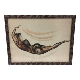 1954 Nude Woman Watercolor Painting