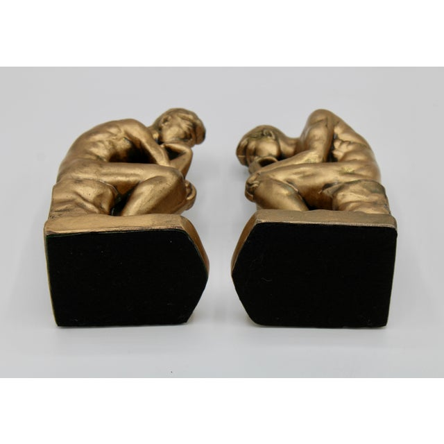 1928 Metallic Gold Thinking Man Bookends For Sale - Image 11 of 12