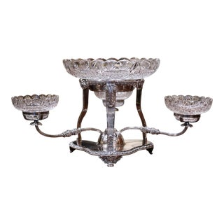 19th Century English George III Style Silvered Over Copper and Cut-Glass Epergne For Sale