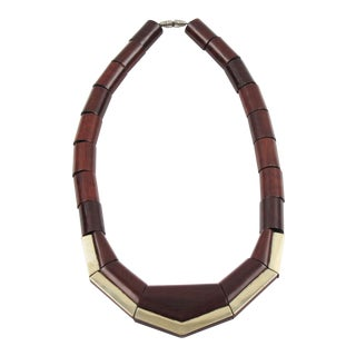 French Art Deco Wood and Silver Choker Necklace For Sale