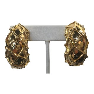 Wonderful Oversized Givenchy Gold Tone Clip on Earrings For Sale