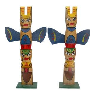 Midcentury Souvenir Totem Poles Sculptures, Pair For Sale