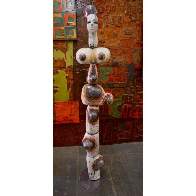 Figural Ceramic Totem Sculpture Signed F. Fau For Sale - Image 10 of 10