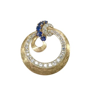 Vintage 14k Gold Diamond & Sapphire Brooch For Sale