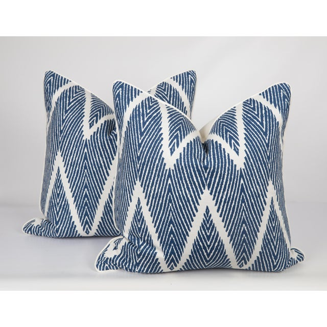 Not Yet Made - Made To Order Blue and Ivory Chevron Pillows - a Pair For Sale - Image 5 of 6