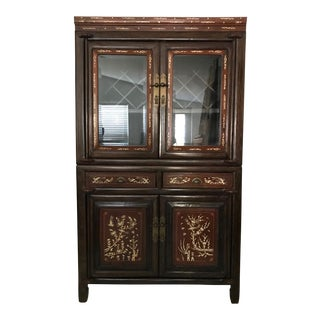 Inlayed Oriental Rosewood Cabinet or Hutch/Dry Bar With Wine Rack For Sale