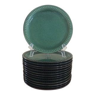 1960s Gabriel Sweden Green Glazed Pottery Plates - Set of 14 For Sale