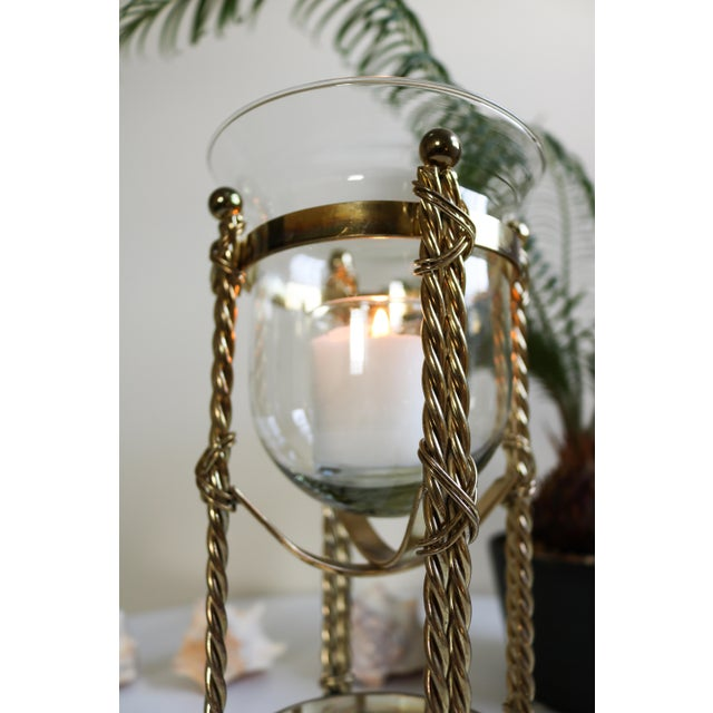 Mid-Century Tall Brass & Glass Candleholder For Sale - Image 9 of 13