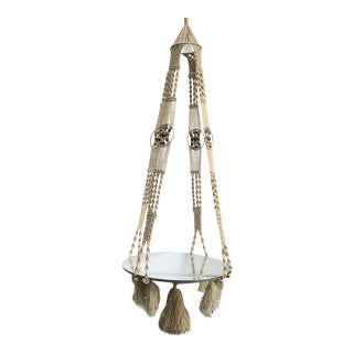 Mid Century Macrame Hanging Plant Holder With Mirrored Base For Sale