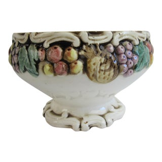 Fruit Decorated Majolica Bowl For Sale