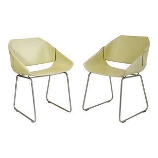 Brazilian Modern Cream Leather Side Chairs - a Pair