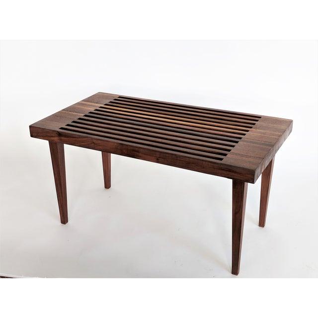 Mid Century Modern Wooden Slat Bench - Image 3 of 9