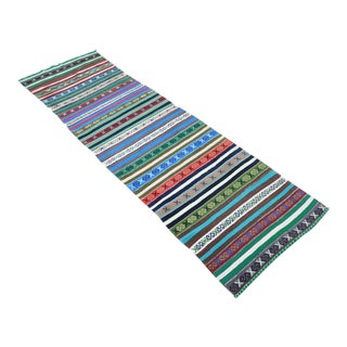 "Vintage Turkish Blue Kilim Runner-2'11'x9'11"" For Sale"