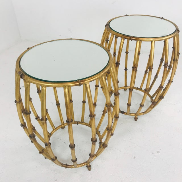 Pair of Gold Faux Bamboo Drum Side Tables With Mirrored Tops For Sale - Image 10 of 12