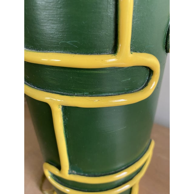 Forest Green Late 1940s Pottery Ceramic Lamps by Ugo Zaccagnini - a Pair For Sale - Image 8 of 11