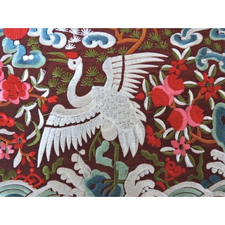 Embroidered White Crane Oriental Burgundy Lamp or Table Mat Preview