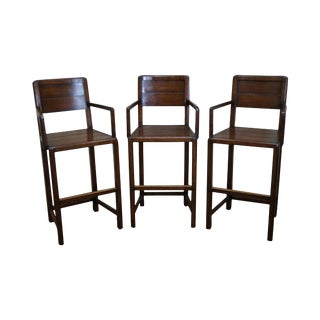 Jonathan Charles Country Farmhouse Walnut Bar Stools - Set of 3