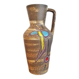 Tall Scheurich Keramik Abstract Decor Pitcher Vase Nr. 407/35 For Sale