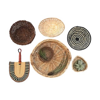 Hand-Woven Basket Wall Accents, Set of 7