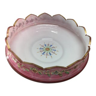 Vintage Hand Painted Pink Cut Glass Serving Bowl For Sale