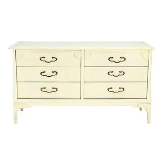 White Lacquer Mid-Century Modern Dresser with Ornate Drawer Pulls For Sale