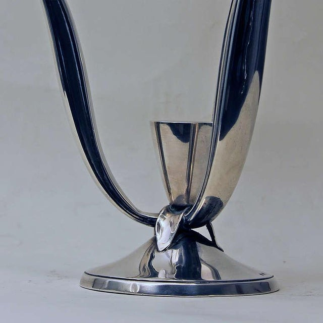Metal 1940s Pair of Silver Candelabras, 3 Arms, 4 Candles, Spain For Sale - Image 7 of 11
