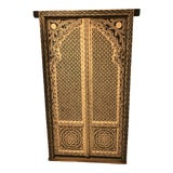 Image of Pair of Hand-Made Solid Wood Indian Doors For Sale