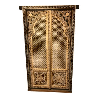 Pair of Indian Doors Solid Wood and Bone Look. For Sale