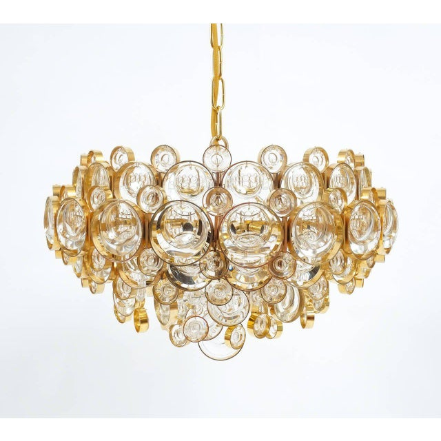 Large Gold Palwa Brass and Glass Chandelier Lamp, Germany 1960 For Sale - Image 9 of 9