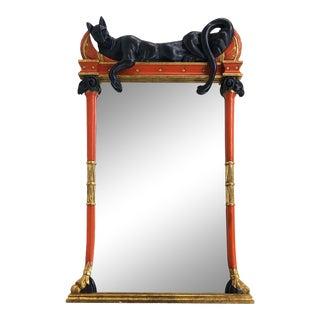 Firenze Italian Polychromed & Parcel Gilt Pier Mirror W/ Cat Draped Above For Sale