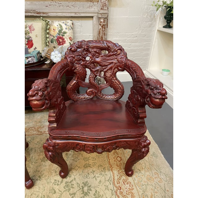 1960s Vintage Red Carved Wood Chinese Dragon Chairs - a Pair For Sale In Boston - Image 6 of 9