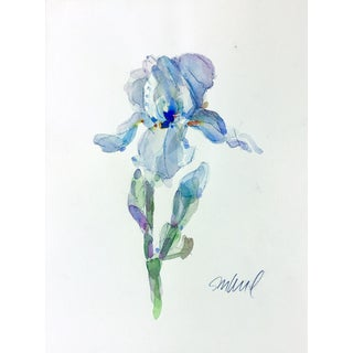 Powder Iris Original Watercolor Painting For Sale
