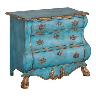 Dutch Painted and Gilded Oak Bombé Commode Chest of Drawers, Holland circa 1850 For Sale