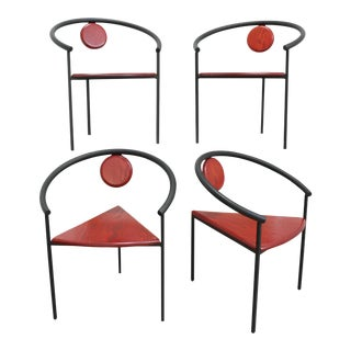 Stacking Geometric Triangle Tripod Dining Chairs- Post Modern Memphis Group For Sale