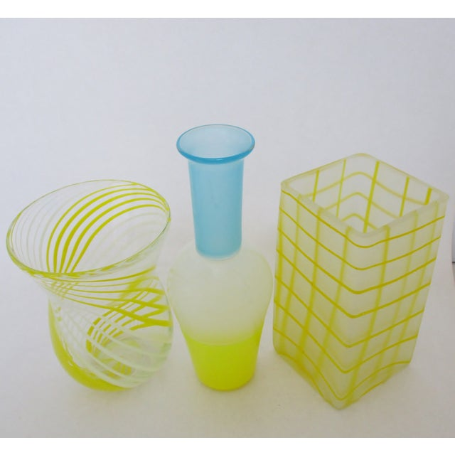 Blown Yellow Glass Vases - Set of 3 For Sale - Image 4 of 5