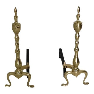 Brass Andirons - A Pair For Sale