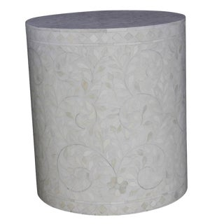 Round White Bone Inlay Drum Table