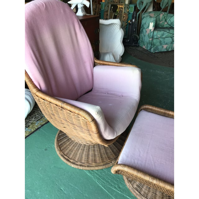 Vintage Wicker Egg Chair and Ottoman For Sale - Image 10 of 12