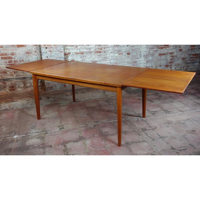 Danish Mid-century Teak Dining Table w/6 chairs by Koefoeds Hornslet Mid century modern dining table with 6 matching...