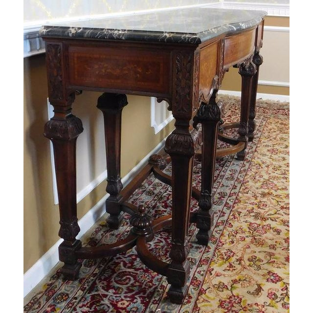 Italian Rococo Carved Mahogany Marble Top Console - Image 10 of 10