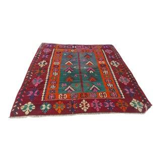 1960 Boho Chic Anatolian Kilim Persimmon-Colored Wool Rug