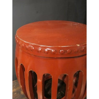 1900s Chinese Red Lacquer Pumpkin Stool Preview