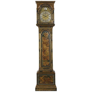 Late 18th Century George III Japanned Tall Case Clock For Sale